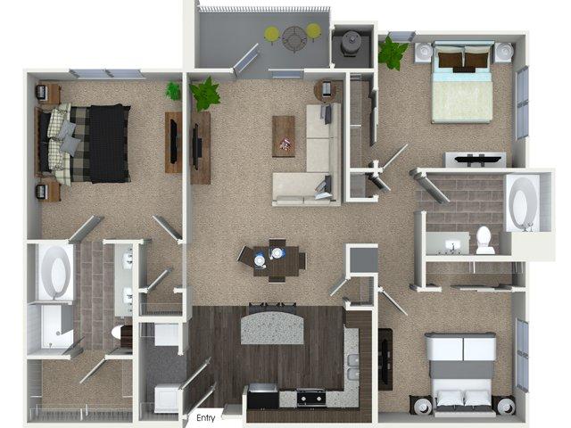 3 bedroom 2 bathroom C1 floorplan at Talia Apartments in Marlborough, MA