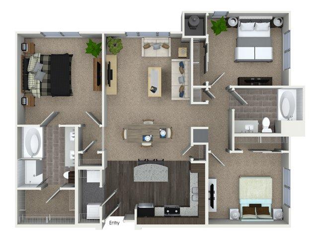 3 bedroom 2 bathroom C1A floorplan at Talia Apartments in Marlborough, MA