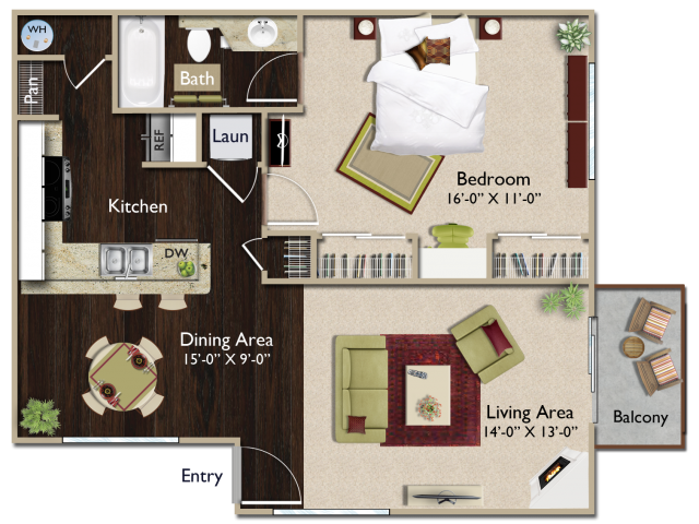 One bedroom one bathroom A2 floorplan at Atwood Apartments in Citrus Heights, CA