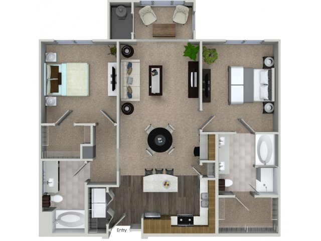 2 bedroom 2 bathroom B2S floorplan at Talia Apartments in Marlborough, MA