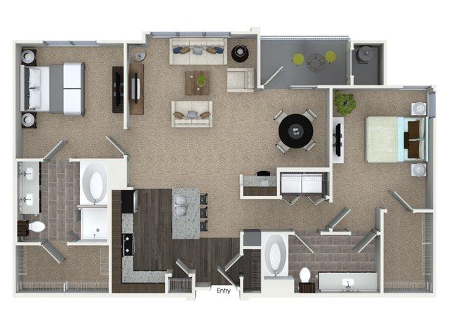 2 bedroom 2 bathroom B3A floorplan at Talia Apartments in Marlborough, MA