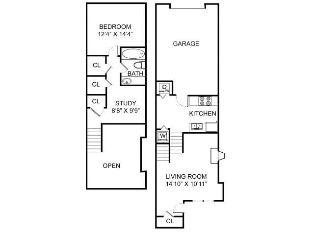 One bedroom one bathroom A4THL floorplan at Williamsburg Townhomes Rental Homes in Sagamore Hills, OH