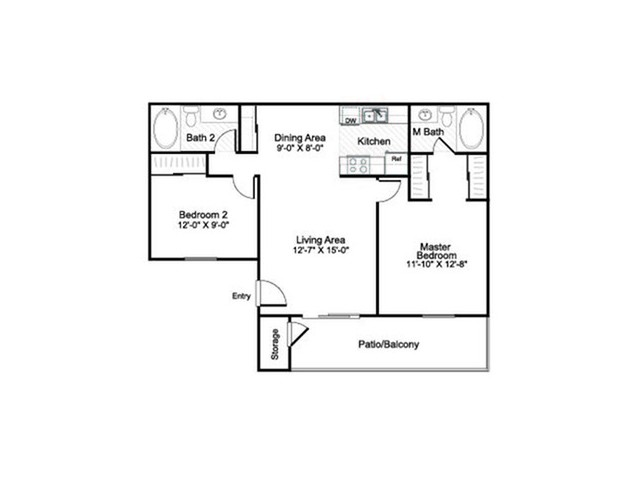 2 Bedroom 2 Bathroom B2 floorplan at Sora Apartments in Union City, CA