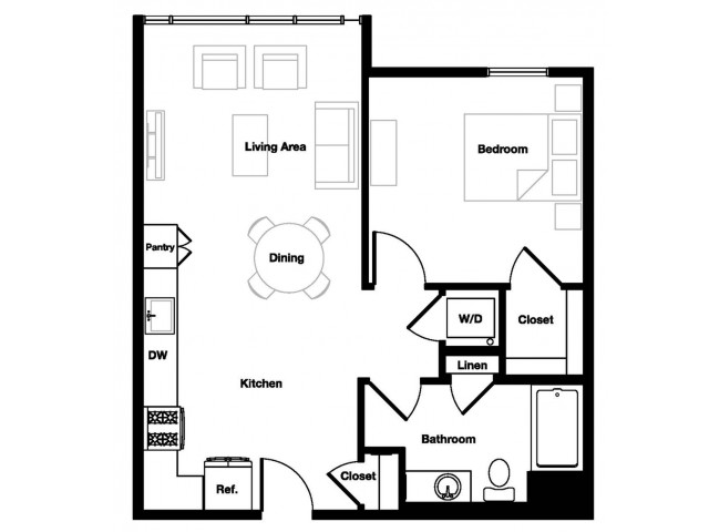 One bedroom one bathroom A2 Floorplan at L Seven Apartments in San Francisco, CA