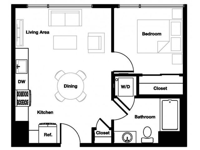 One bedroom one bathroom A5 Floorplan at L Seven Apartments in San Francisco, CA