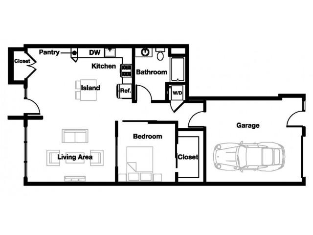 One bedroom one bathroom A9 Floorplan at L Seven Apartments in San Francisco, CA