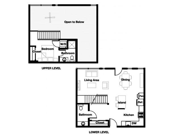 One bedroom one and a half bathroom A12L Floorplan at L Seven Apartments in San Francisco, CA