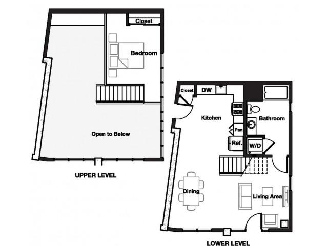 One bedroom one and a half bathroom A13L Floorplan at L Seven Apartments in San Francisco, CA