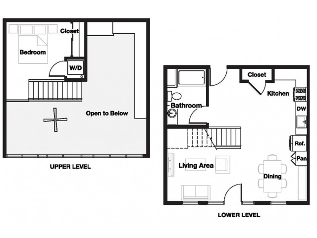 One bedroom one and a half bathroom A15L Floorplan at L Seven Apartments in San Francisco, CA
