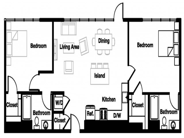 Two bedroom two bathroom B4 Floorplan at L Seven Apartments in San Francisco, CA