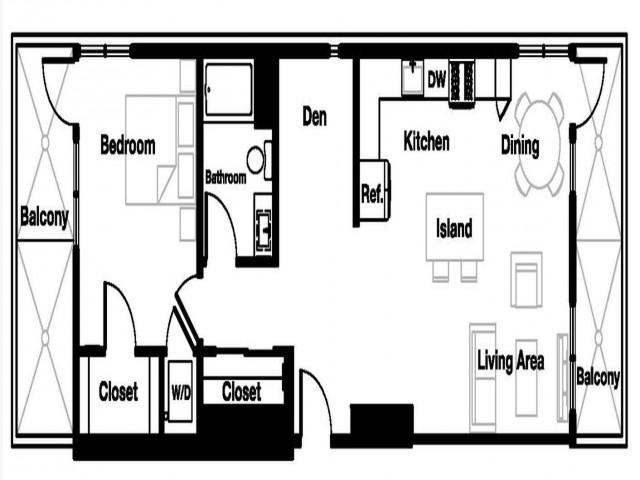 One bedroom one bathroom A4D Floorplan at L Seven Apartments in San Francisco, CA