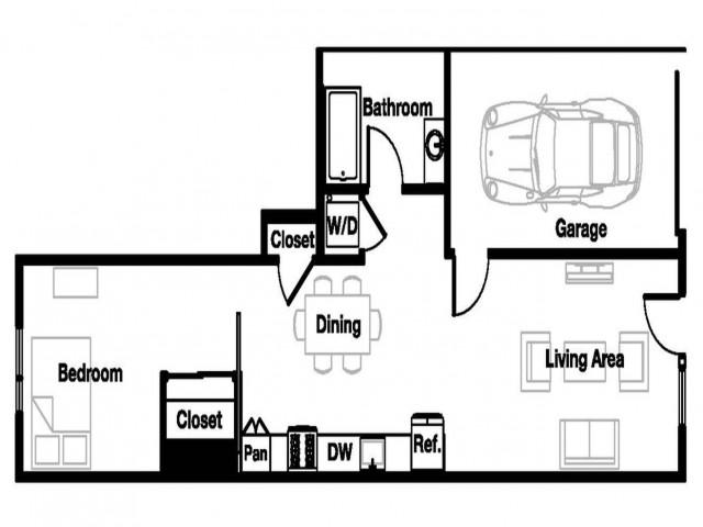One bedroom one bathroom A10 Floorplan at L Seven Apartments in San Francisco, CA
