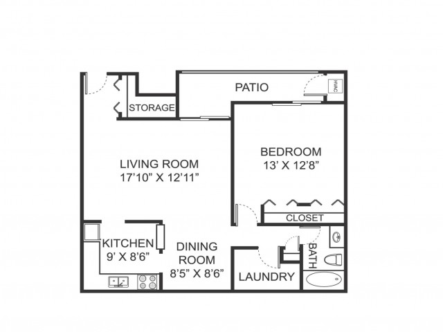 One bedroom one bathroom A1 floorplan at Arbor Landings Apartments in Ann Arbor, MI