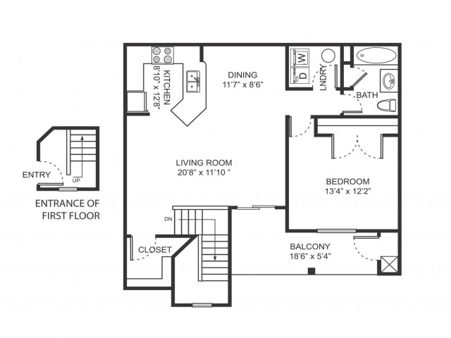 One bedroom one bathroom A4 floorplan at Arbor Landings Apartments in Ann Arbor, MI