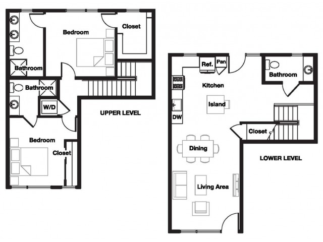 Two bedroom two and a half bathroom B9THA Floorplan at L Seven Apartments in San Francisco, CA