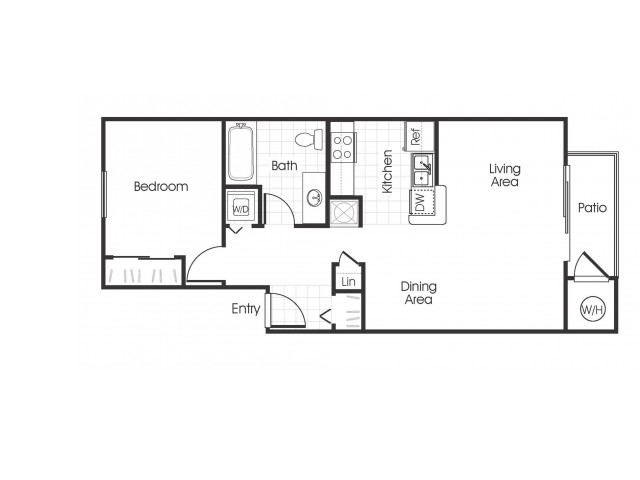 1 bedroom 1 bathroom A1 floorplan at Bella Vista Apartments in Elk Grove, CA