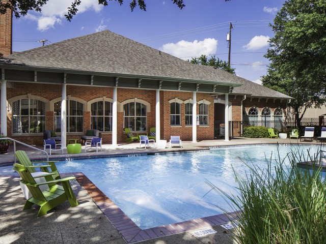 Resort-style swimming pool with poolside WiFi at The Brixton Apartments in Dallas, TX
