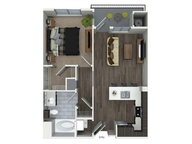1 bedroom 1 bathroom A1 floorplan at Avaire South Bay Apartments in Inglewood, CA