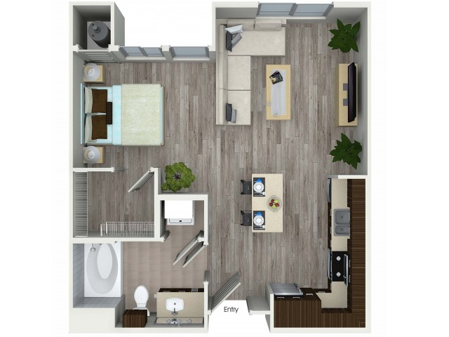 Studio with one bathroom S2 floorplan at Avaire South Bay Apartments in Inglewood, CA