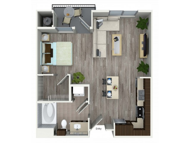 Studio with one bathroom S1 floorplan at Avaire South Bay Apartments in Inglewood, CA