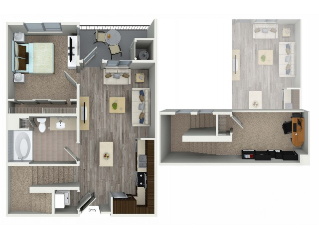 1 bedroom and loft 1 bathroom A4L floorplan at Avaire South Bay Apartments in Inglewood, CA