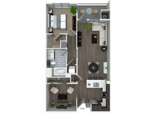 1 bedroom 1 bath plus den A5D floorplan at 1 bedroom and loft 1 bathroom A4L floorplan at Avaire South Bay Apartments in Inglewood, CA