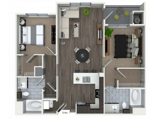 2 bedroom 2 bathroom B4 floorplan at 1 bedroom and loft 1 bathroom A4L floorplan at Avaire South Bay Apartments in Inglewood, CA
