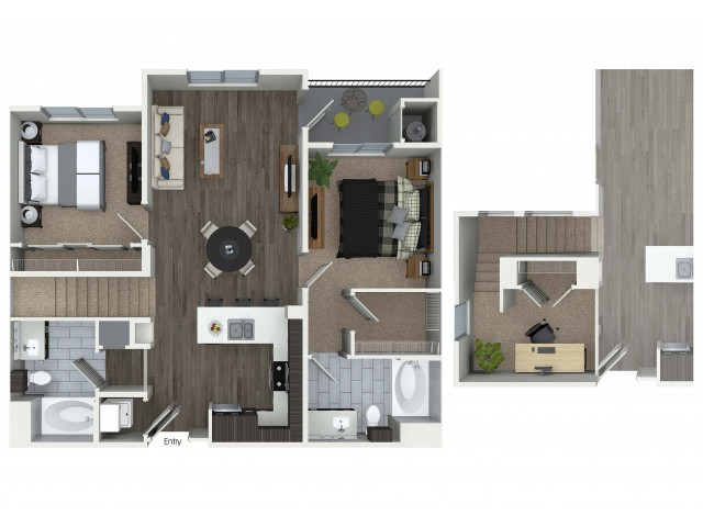 2 bedroom 2 bathroom plus loft B8L floorplan at 1 bedroom and loft 1 bathroom A4L floorplan at Avaire South Bay Apartments in Inglewood, CA