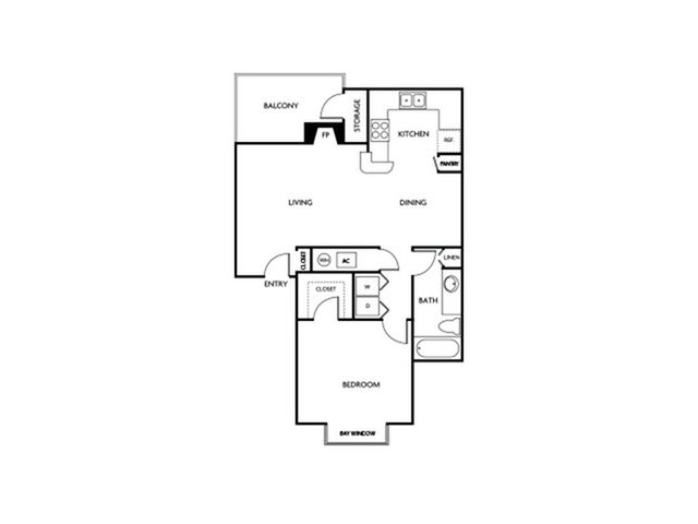 One bedroom one bathroom A3 floor plan at Reflections at the Lakes Apartments in Las Vegas, NV