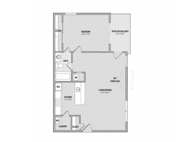 A1 1 bedroom 1 bathroom floorplan at Adler at Waters Landing in Germantown, MD
