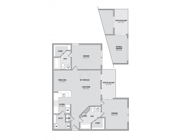 B4S 2 bedroom 2 bathroom plus sunroom floorplan at Adler at Waters Landing in Germantown, MD