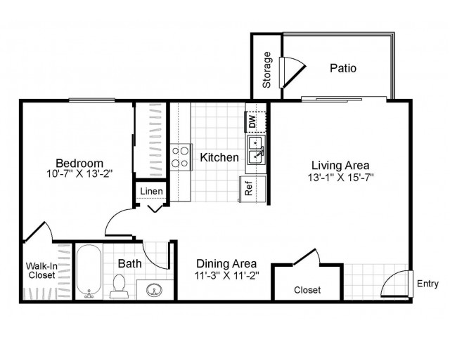 1 bedroom 1 bathroom A1 floorplan at The Retreat at Maple Hill in Federal Way, WA