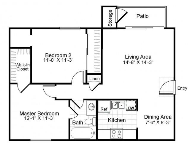 2 bedroom 1 bathroom B1 floorplan at The Retreat at Maple Hill in Federal Way, WA