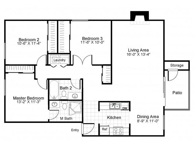 3 bedroom 2 bathroom C1 floorplan at The Retreat at Maple Hill in Federal Way, WA
