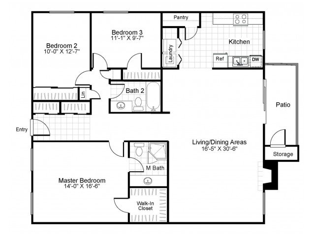 3 bedroom 2 bathroom C2 floorplan at The Retreat at Maple Hill Apartments in Federal Way, WA