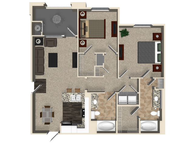 Two bedroom two bathroom B1 floor plan at Capriana at Chino Hills Apartments in Chino Hills, CA