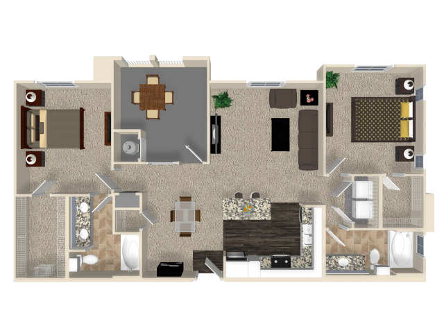 Two bedroom two bathroom B3 floor plan at Capriana at Chino Hills Apartments in Chino Hills, CA