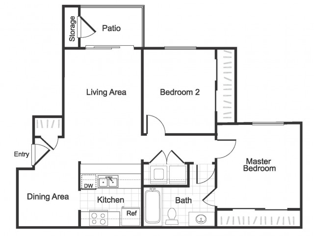 2 bedroom 1 bathroom B1 floorplan at Valley Ridge Apartment homes in Lewisville, TX