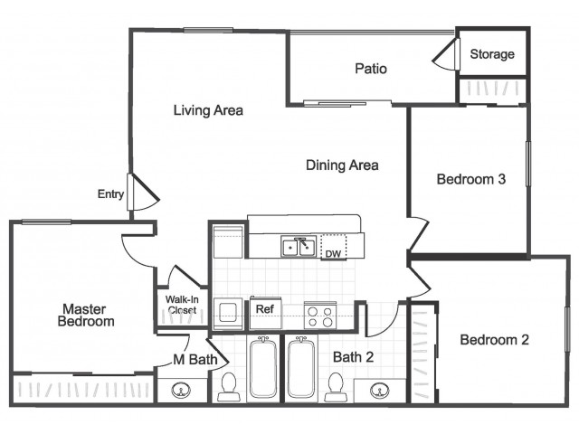 3 bedroom 2 bathroom C1 floorplan at Valley Ridge Apartment Homes in Lewisville, TX