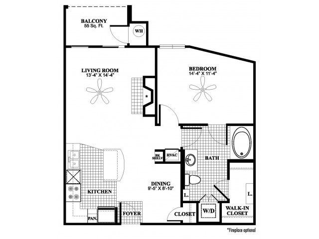 1 bedroom 1 bathroom A3 floorplan at 17 Barkley Lane Apartments in Gaithersburg, MD