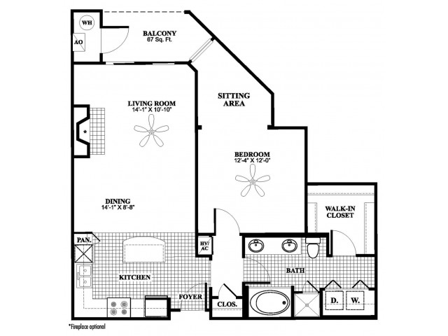 1 bedroom 1 bathroom A5 floorplan at 17 Barkley Lane Apartments in Gaithersburg, MD