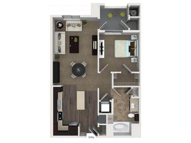 1 bedroom 1 bathroom A2 floorplan at Valentia Apartments in La Habra, CA