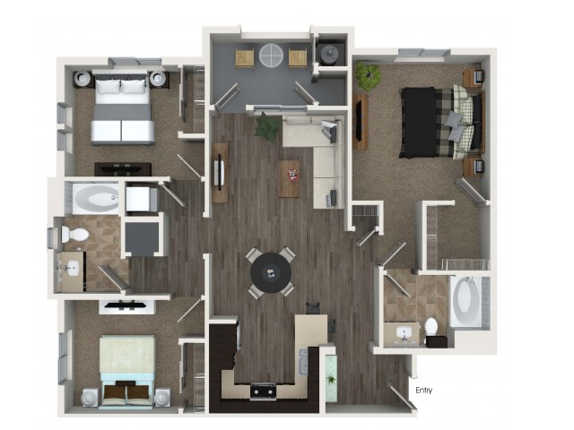 3 bedroom 2 bathroom C1 floorplan at Valentia Apartments in La Habra, CA