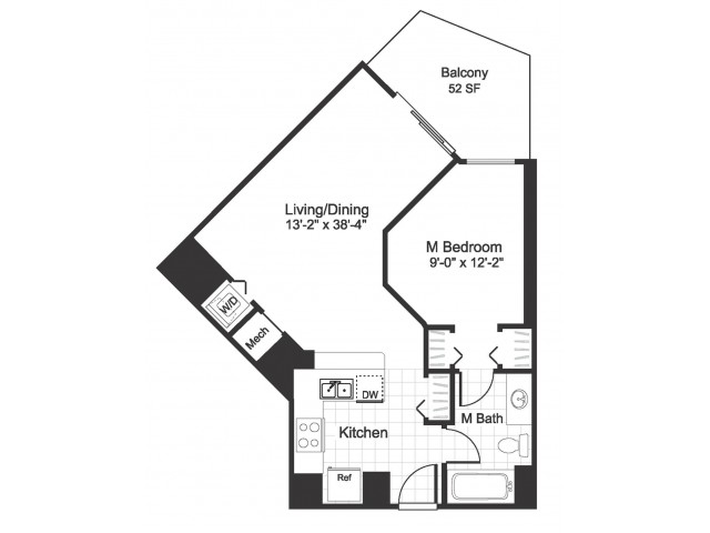 1bedroom 1 bathroom A01 floorplan at The Alexander in Alexandria, VA