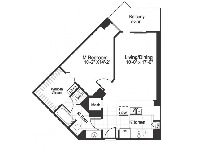 1 bedroom 1 bathroom A02 floorplan at The Alexander in Alexandria, VA