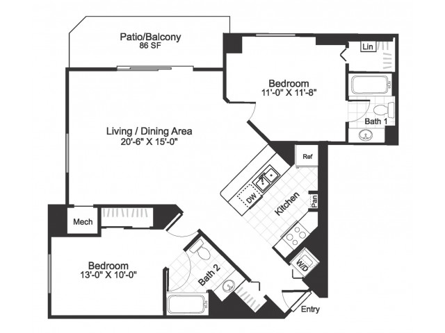 2 bedroom 2 bathroom B03 floorplan at The Alexander in Alexandria, VA