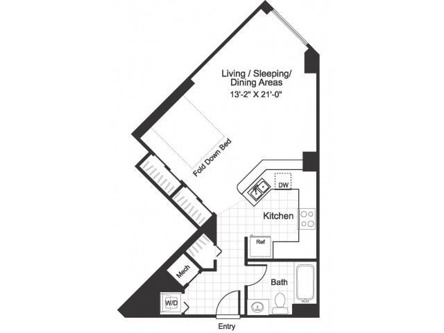 Studio S01 floorplan at The Alexander in Alexandria, VA