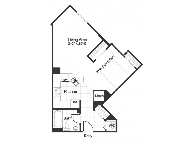 Studio S02 floorplan at The Alexander in Alexandria, VA