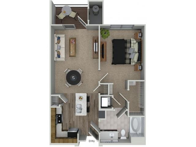 1 bedroom 1 bathroom A1 floorplan at Mave Apartments in Stoneham, MA