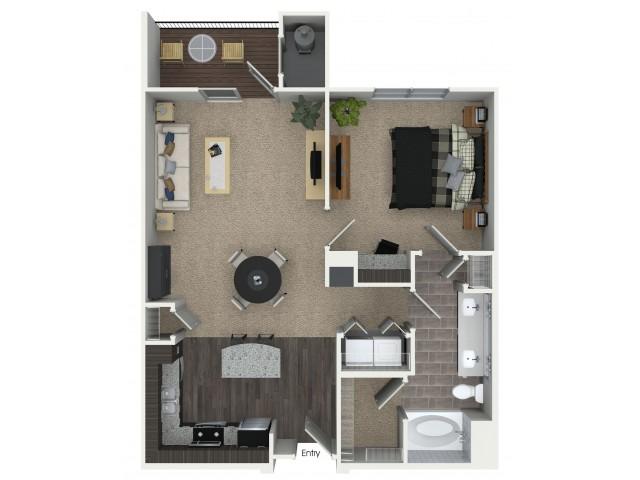 1 bedroom 1 bathroom A2 floorplan at Mave Apartments in Stoneham, MA